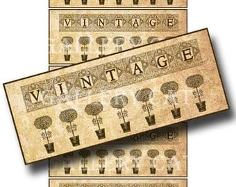 VINTAGE TOPIARY Tag Digital Collage Sheet Instant Download Etsy Label Original Whimsical Altered Art by Gallery Cat CS112