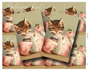 VINTAGE CAT with Rose Digital Collage Sheet Instant Download Paper Crafts Original Whimsical Altered Art by GalleryCat CS137