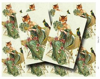 VINTAGE CAT with Fan Digital Collage Sheet Instant Download for Paper Crafts Card Tags Original Whimsical Altered Art by GalleryCat CS138