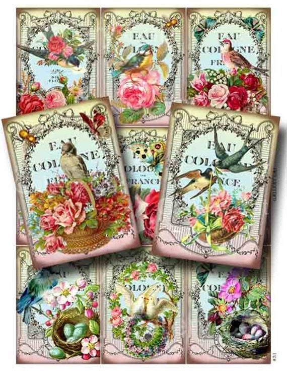 Vintage Birds and Bees Digital Collage Sheet Instant Download for Paper Crafts Cards Tags Original Whimsical Altered Art by GalleryCat CS31