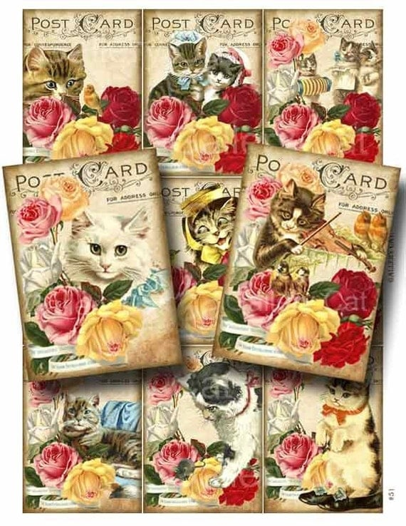 Victorian Kittens and Roses  Digital Collage Sheet Instant Download for Paper Crafts Cards Original Whimsical Altered Art GalleryCat CS51