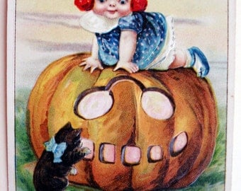 PRICE DROP! Rare Halloween Postcard, Signed Winsch-Freixas, Baby and Cat with Jack o Lantern