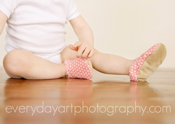 Pretty in Pink Booties Size 12 to 18 Months Ready to Ship toddler polka dot slippers