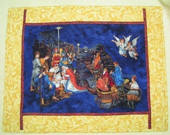 Quilted nativity embroidered stars swirly golden border