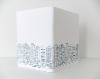 Travel Notebook. Small Amsterdam journal. Handmade journal in black and white - handbag notebook - small notebook