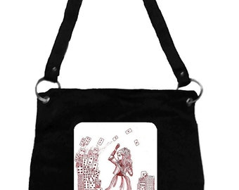 Alice in Wonderland Messenger Bag- Alice & Cards, Tim Burton Inspired, proceeds to Alzheimer's Association