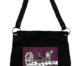 Alice in Wonderland Messenger Bag- Mad Tea Party, Tim Burton Inspired, proceeds to Alzheimer's Association
