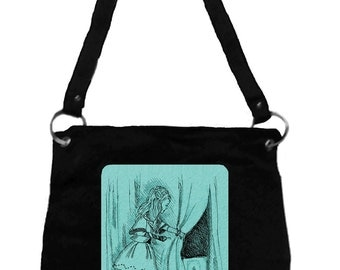 Alice in Wonderland Messenger Bag- Alice & Key, Tim Burton Inspired, proceeds to Alzheimer's Association