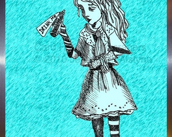Alice in Wonderland, Drink me, Alice artwork- framed print, Tim Burton Inspired, proceeds to Alzheimer's Association