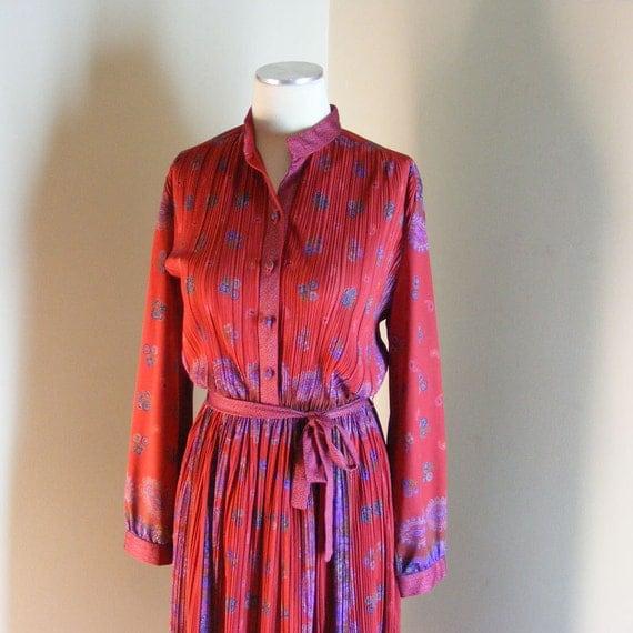 70s Paisley Dress - Vintage 1970s Red Border Print - Floral Dress Sz L
