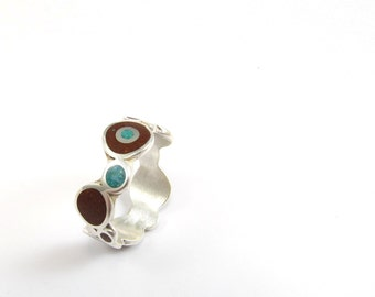 Sterling Silver Ring, Bubbles Ring, Turquoise, Chocolate, Contemporary, Modern, Brown