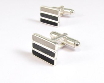 Sterling Silver Cuff Links, Black, Grey, White, Modern, Contemporary, Wedding