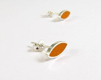 Orange Ear Studs, Sterling Silver Earrings, Small Seeds, Modern, Contemporary, Minimal
