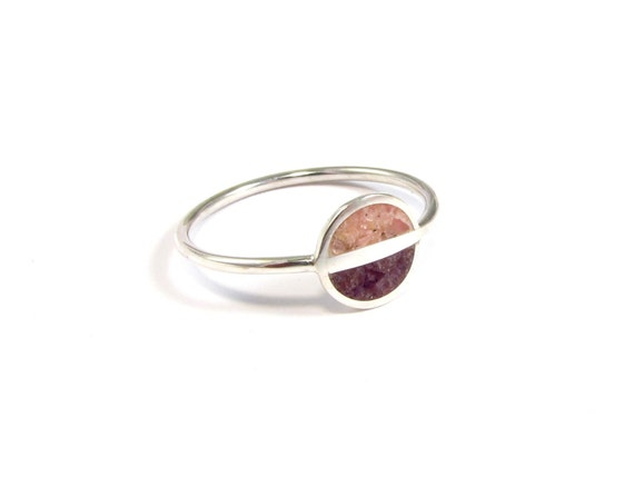 Sterling Silver Ring, Purple, Pink,  Saturn, Soft Colors, Contemporary, Modern, Minimal