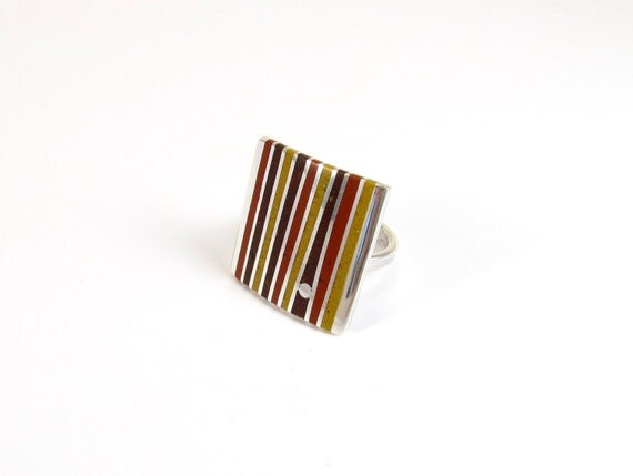 Sterling Silver Ring, Stripes, Lines, Geometric, Mid Century, Modernist, Chocolate Mustard Maroon, Contemporary, Modern