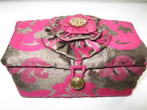 Jewel Box. Hot Pink, Fiber Art Treasures  Box.Embellished with Fabric Flower.Handmade and One-of-a-kind