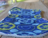 Island Hawaiian Contour Burp Rag CLEARANCE Terry Cloth and Flannel Blue Green Hibiscus - Island Time