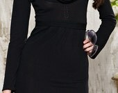 Beautiful gray dress with long sleeves and high collar