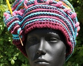 Blues and Pinks Bulky & Floppy Crochet Hat with a Yellow Chopstick...