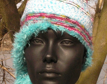 Light Blue Crochet Hat with Wooden Colorful Wooden Beads...