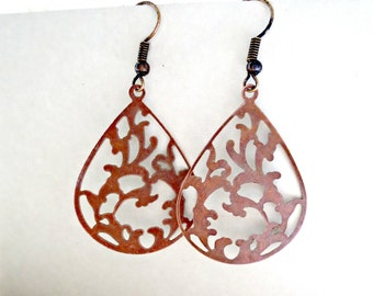 Vines Red Copper Earrings