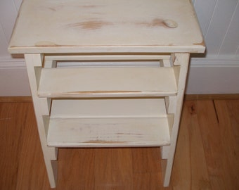 Step ladder, stool, distressed cream, gift idea