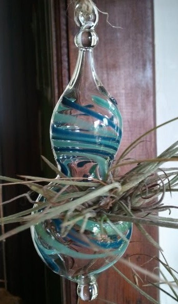 Silver Aqua Hand Blown Hanging Bulb Planter
