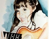 Custom Watercolor Portrait From Your Photograph. Single Face. Choose Size.