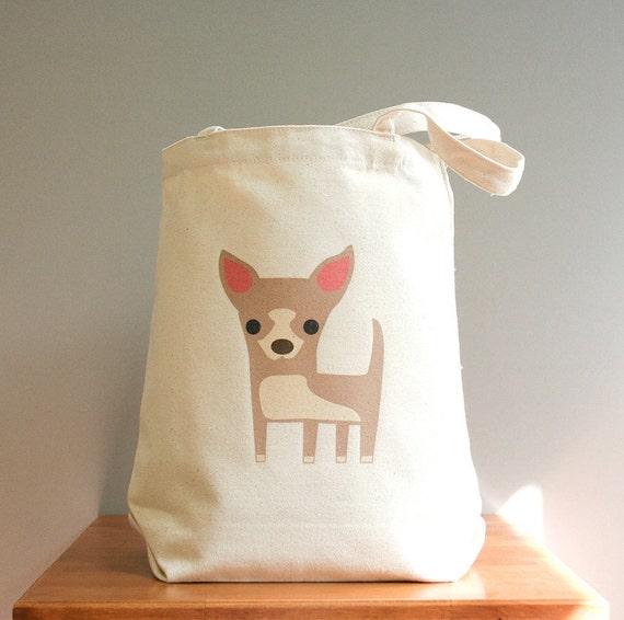 Chihuahua canvas tote bag. Sturdy 100% 10oz. cotton canvas.