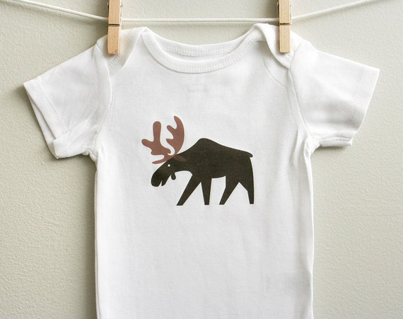 Baby boy clothes moose baby bodysuit by squarepaisleydesign