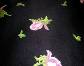 DISCOUNTED Vintage 'Black with Pink Roses' fabric