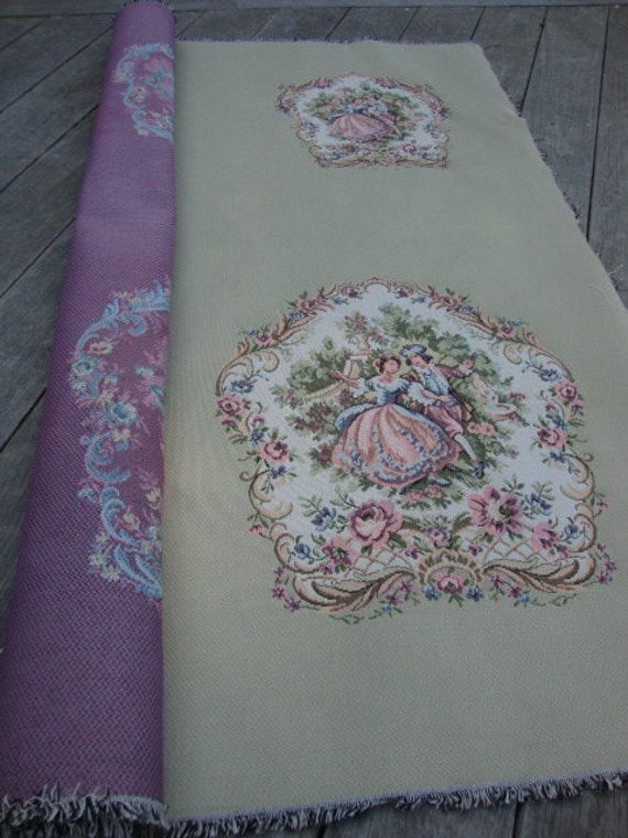 Vintage Upholstery Fabric French Country Dancing Couple Toile