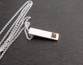 Mens Diamond  Pendant -  Rough Diamond Natural Raw Crystal Recycled Silver Necklace