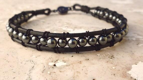 """Men's Leather Bracelet  Hematite Round Bead  for  Men or Women 8"""""""