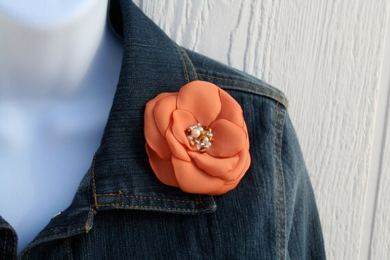 SALE Fabric Flower Brooch, Hair Pin, Clip, or Headband in Sunset Orange: Patricia