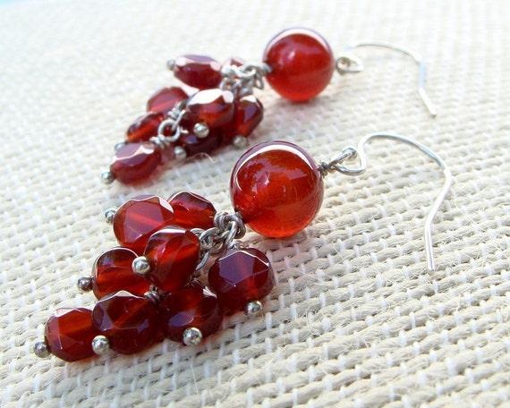 Pomegranate Carnelian Cluster Earrings