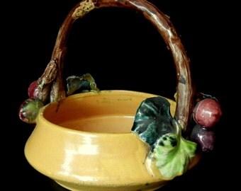 SHI WAN / MUD MANVintage 1920's Hand Made Oriental Ceramic Basket / Bowl with Handle / lb120