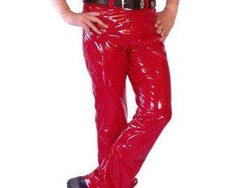 Red 4-way stretch vinyl jeans