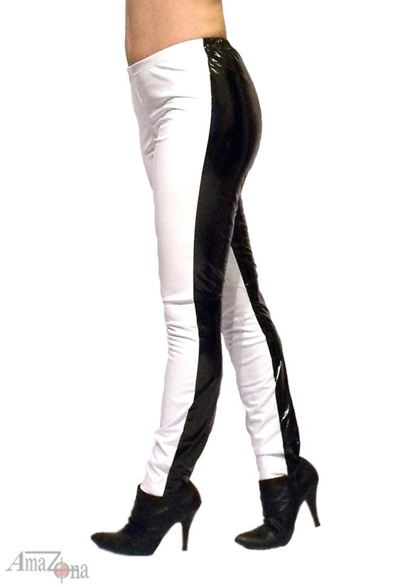 Black n White 4-way stretch vinyl leggings