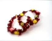 bordeaux red hoops-  rosettes earrings- red hoop earrings- dark hoops- fiber art hoops- artistic earrings-ooak earrings- SweetLake Jewelry