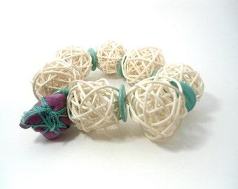 chunky turquoise bracelet- straw gem bracelet-purple  fiber ball  -white ball bracelet-natural wood bracelet-  woodland bangle