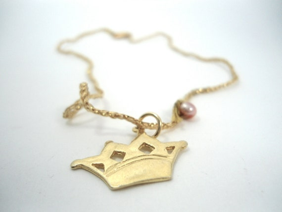 golden crown necklace- gold plated on sterling silver -  gold fiber thread - Kings & Queens- dream princesses - fairy tales