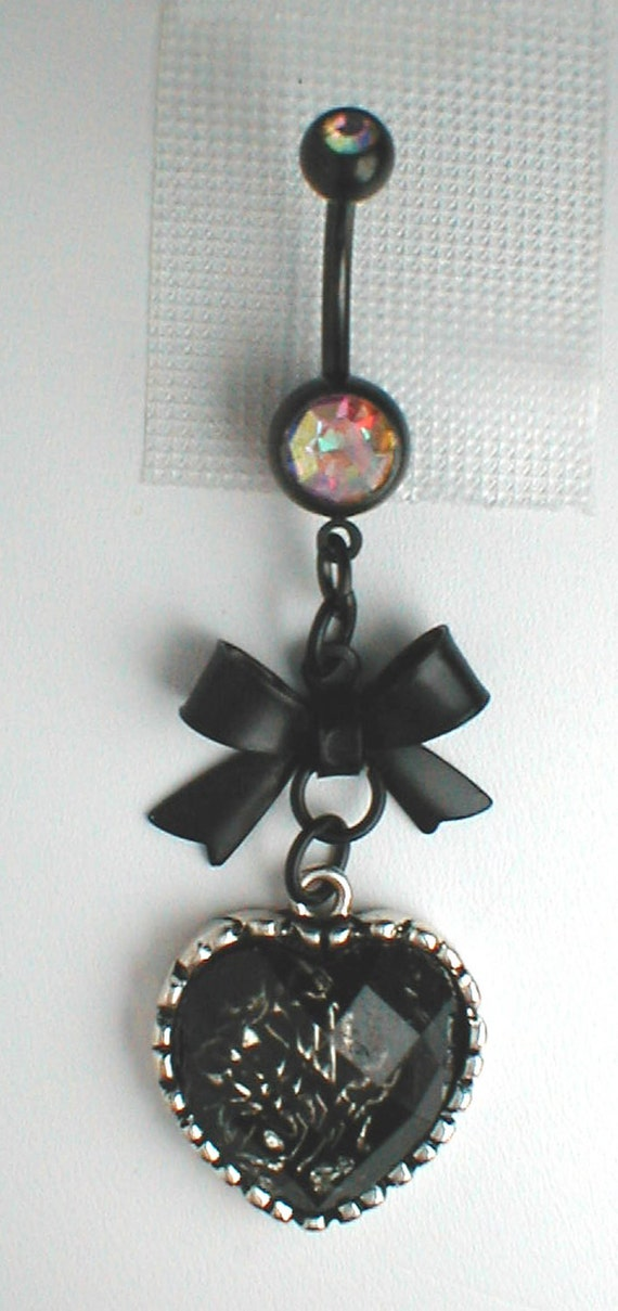 Unique Belly Ring Black Bow and Heart by pondgazer2004 on Etsy
