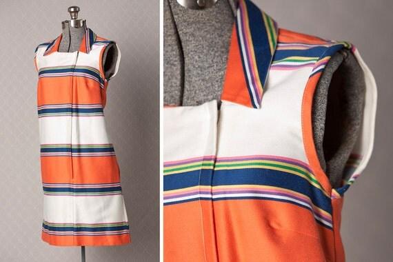 1960s MOD Dress //  60s Vintage Dress // Striped Shift Dress
