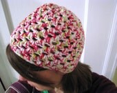 Crochet Strawberry Patch Shell Beanie