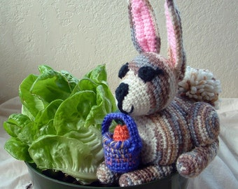 Crochet BUNNY Rabbit with Carrot and Purple Basket //Stuffed Bunny //Gray and Brown Rabbit Plush// Bunny Rabbit Home Decor