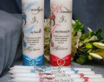 Unity Candle With Tapers Personalized Floral Design - 18 colors available