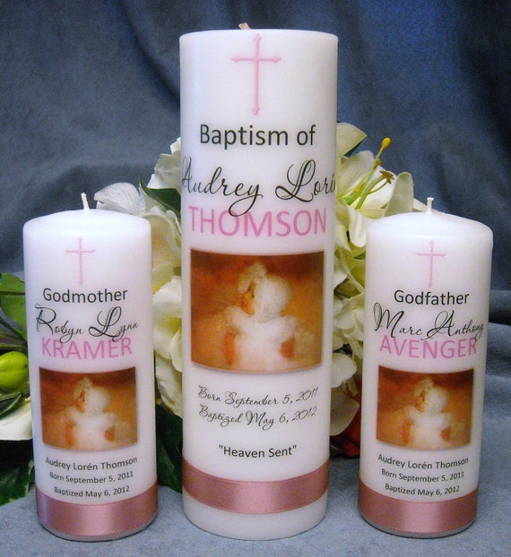 Baptism Christening Candle with God Parent Candles Personalized