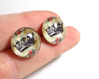 Crown Earrings - Glass Cabochon Posts