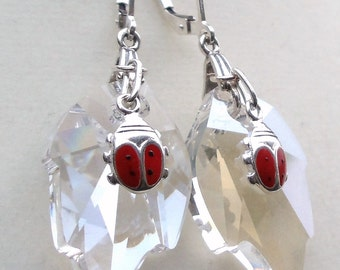 "Crystal Moonlight Swarovski Crystal Leaves with Sterling Silver Enameled Ladybugs Dangle Earrings--""Ladybug Love"""